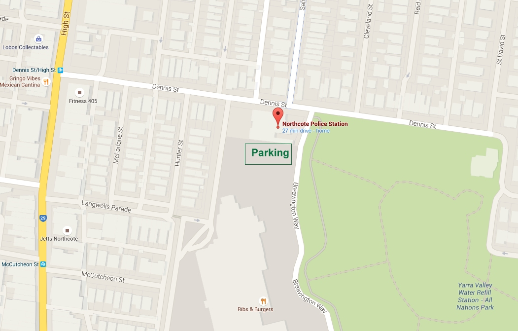 Northcote Police Station search departure location