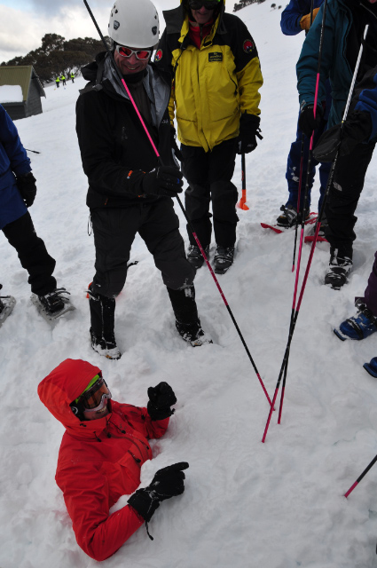 Testing the use of avalanche probes on a half-buried person