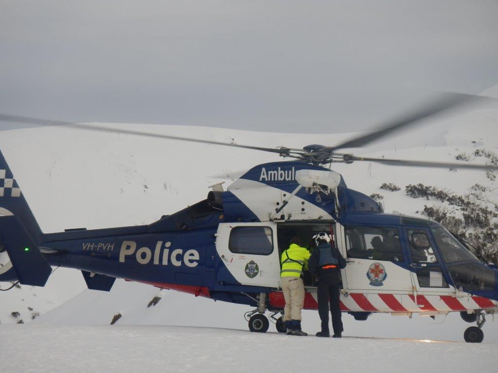 2014 July Bogong snowboarders helicopter departure