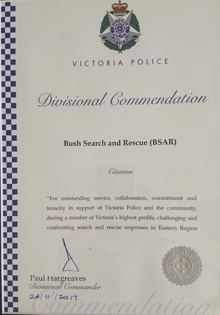 Victoria Police Eastern Region Divisional Commendation for BSAR
